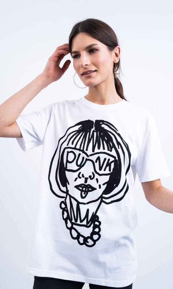 Balti marškinėliai, laisvalaikio marškinėliai, madingi marškinėliai, marškinėliai su nuolaida
