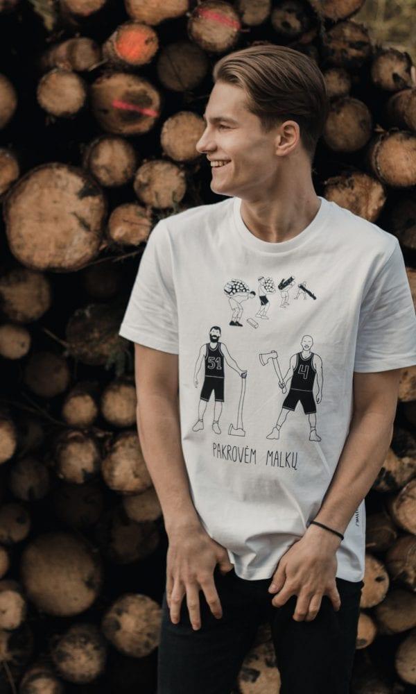 marškinėliai krepšinio gerbėjui ,balti marškinėliai
